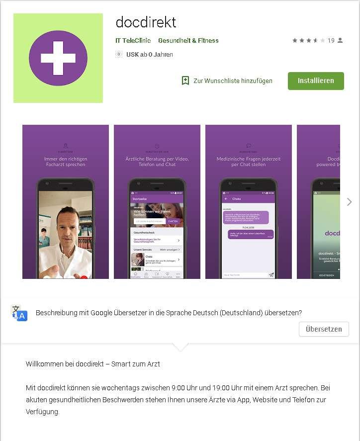 screenshot playstore docdirekt app online sprechstunde arzt
