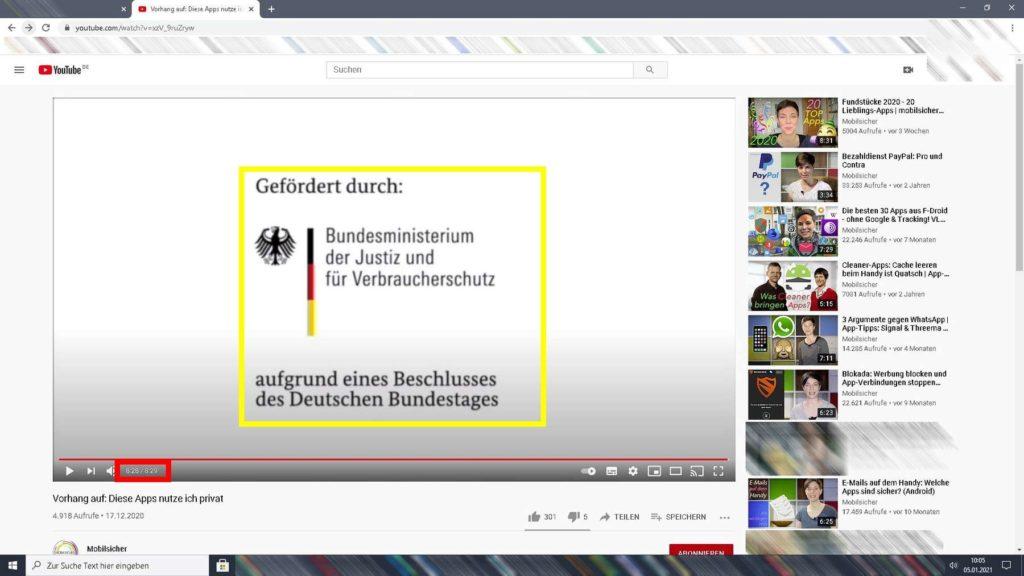 Screenshot YouTube-Kanel Mobilsicher